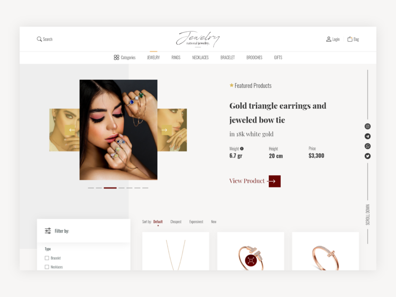 Online shop - Products page filter jewelry gold list product listing product list shopping ui ux ui design webdesign ecommerce shop