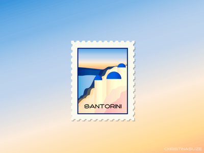 Santorini Stamp illustration design greece santorini travel weeklywarmup dribbble stamp illustrator
