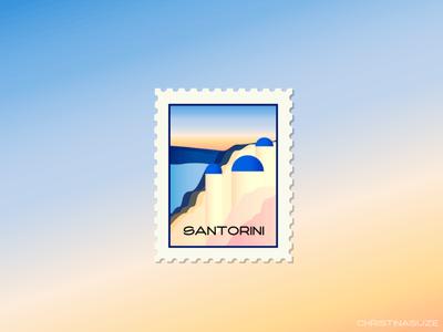 Santorini Stamp illustration design greece santorini travel weeklywarmup dribbble stamp illustrator