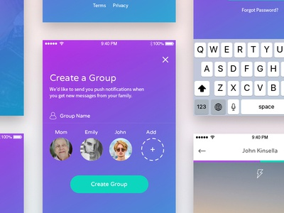 Kincha Mobile Application user interface sign up camera mobile clean ux ui ios design chat app