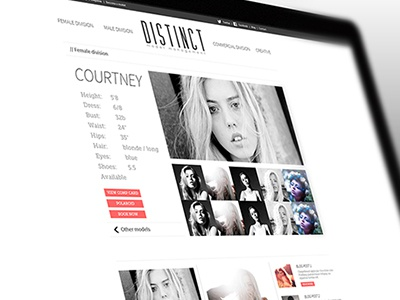 Female Model Profile Page fashion models clean ui ux