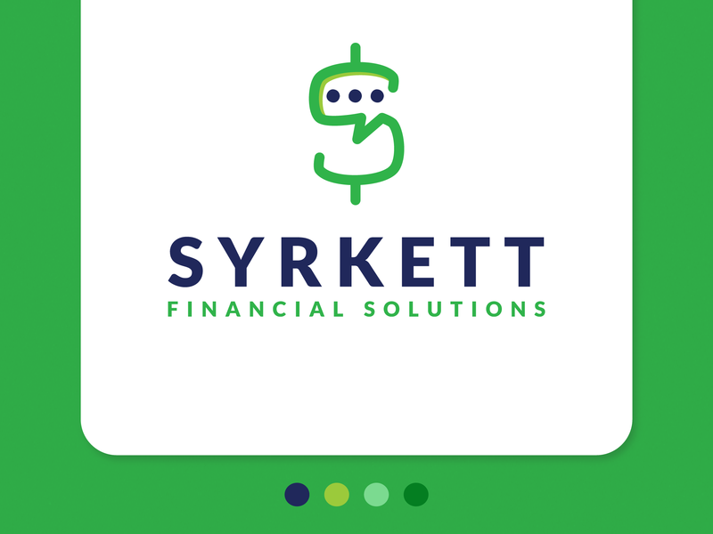 Syrkett Financial Solutions - Consulting Company Logo financial solutions solutions chatting money green green icon logo design typography google fonts monogram s dollar sign chat bubble vector dribble adobe illustration brand consulting logo consulting
