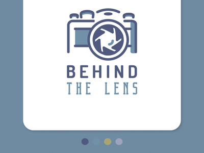 Photography Logo - Behind The Lens shadowing illustration flat design adobe illustrator vector dribble grayish blue blue-ish gray gray blue aperture shutter blades shutters behind the lens camera lens leica photography logo photo camera