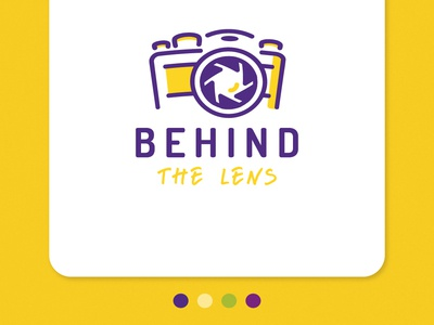 Photography Logo - Behind The Lens fuji canon nikon camera lens yellow purple photography logo photography icon ui website design typography logo illustration dribble detroit website designer detroit graphic designer apparel design flat design vector