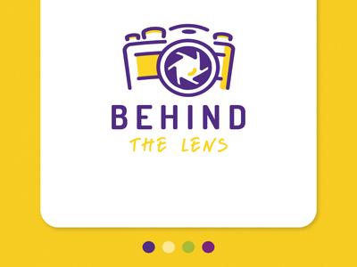 Photography Logo - Behind The Lens fuji canon nikon camera lens yellow purple photography logo photography icon ui website design typography logo illustration dribble detroit website designer detroit graphic designer apparel design flat design vector
