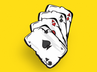 Casino Cards - Playing Cards - Four Aces • Illustration slots adult gaming gambling gamble branding icon ui flat design vector logo design illustration illustrator four aces casino cards playing cards