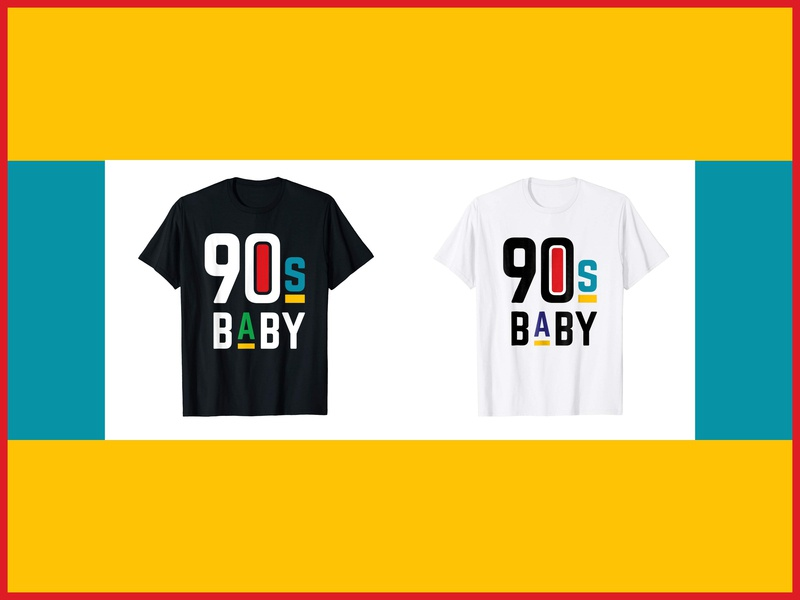 90s Baby Shirt t-shirt design shirt design apparel design illustration flat design vector detroit graphic designer nostalgia rgb primary colors 90s tv 90s did it better born in the 90s 90s baby shirt 90s baby