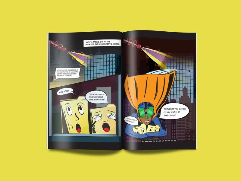 Back Up Your Files laser ray laser buildings cape folders superhero graphic novel comic book illustration detroit graphic designer flat design vector