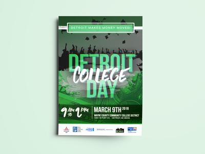 Detroit College Day - Detroit Makes Money Moves - Flyer Design dcan photshop mailer flyer illustrator branding illustration flat design vector detroit website designer detroit graphic designer detroit makes money moves detroit college