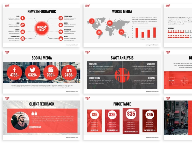 News Multimedia Powerpoint Template By Slidefactory On Dribbble