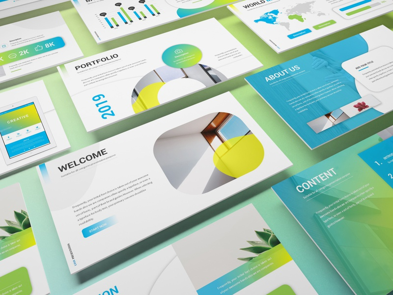 Lovo - Minimal Gradient Powerpoint Template clean investor simple lookbook pitchdeck presentation powerpoint template rounded abstract turqouise technology modern minimalist gradient