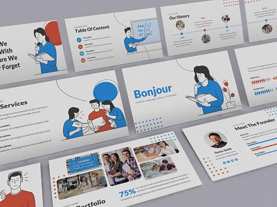 Bonjour – Course Presentation Template course clean proposal keynote template minimal simple slides lookbook pitchdeck presentation powerpoint template