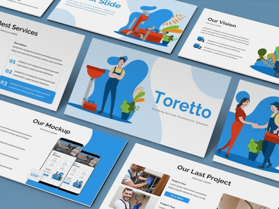 Toretto – Plumber Presentation Template plumber illustration proposal keynote template pitchdeck lookbook slides business presentation presentation powerpoint template
