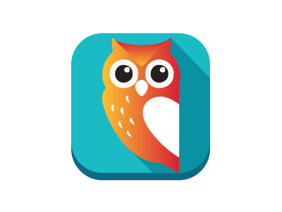 E-learning logo logo owl ico flat shadow fresh application gradient clean
