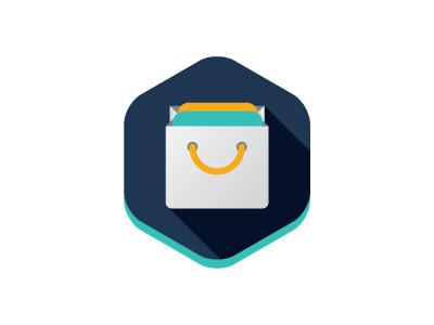 AppMarket logo icon bag application ico flat long shadow wip