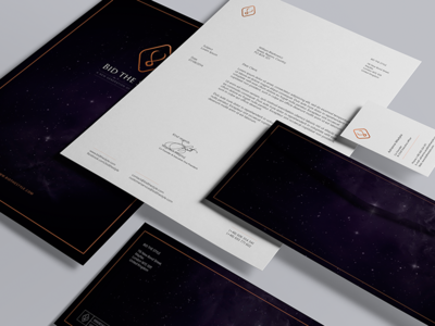 Bid the Style - Stationary identity mark logo book brandbook cover space violet copper frame elegant branding