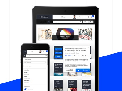 LivingBooks pt. 4 search iphone ipad clean elegent startup ui shop responsive app web book