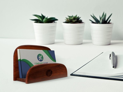Business Card With Holder Mockup