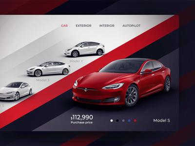 Tesla Model S app ui ux web design