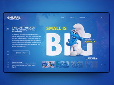 Smurfs : The Lost Village App. Screen illustration ux ui design
