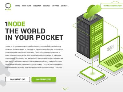 Landing Page One Node app logo vector illustration web ux design