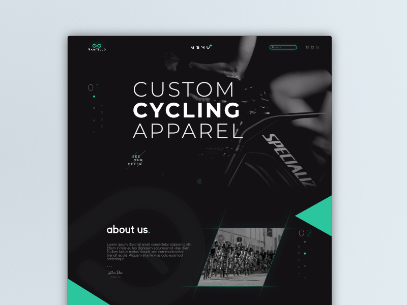 Cycling page header concept web site cycling webdesign