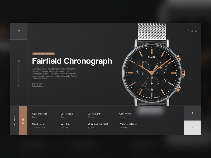 Timex redesign minimal time clock landing page watch web design site