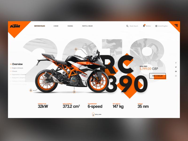 KTM RC 390 Landing Page motorcycle bike ktm rc 390 ktm landing page web design design