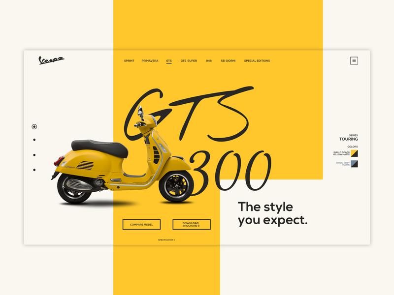 Vespa GTS 300 Landing page vespa ux ui web motorcycle scooter minimal site web design landing page