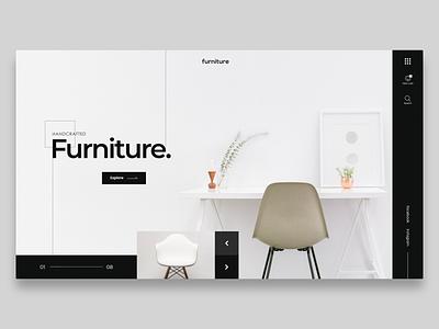 Furniture landing page clean product flat visual interior furniture ux ui minimal landing page site web web design design