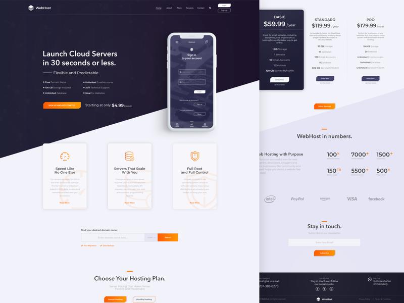 Hosting Landing Page website hosting ux ui site landing page web design minimal design
