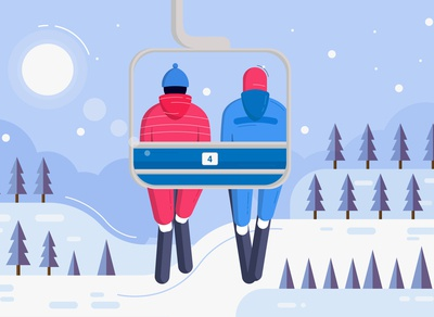 Winter Ski Illustration