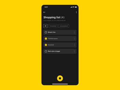 Shopping List - App voice voice assistant ux ui tick product design product interface microinteraction interaction drag and drop design data dark ui animation app