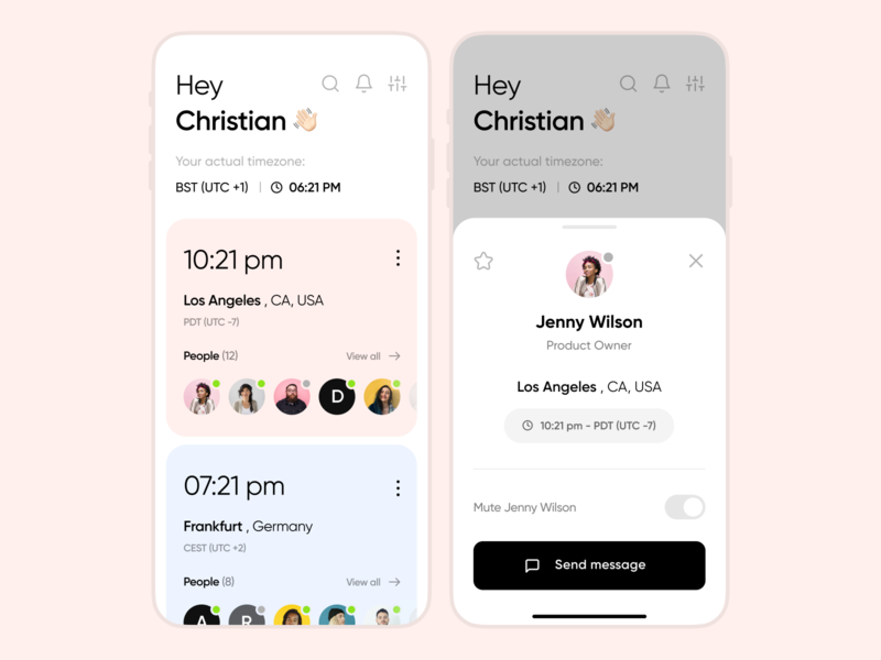 Time Zones Management | App productivity minimalistic ios converter product design product mobile interface ui ux app time remote work remote timezone