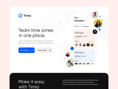 Time Zones Management | App landing page ui landing page landing ux ui timezone time remote work remote productivity product design product mobile minimalistic ios interface converter app