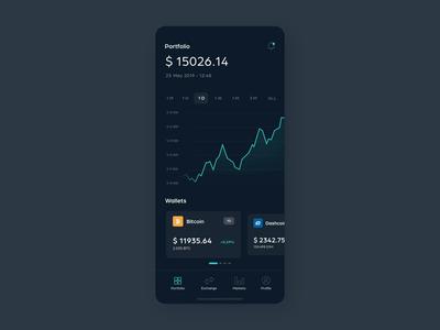 Cryptostash - App interaction design motion dark ui crypto wallet crypto cryptocurrency portfolio graph chart ui ux mobile animation app