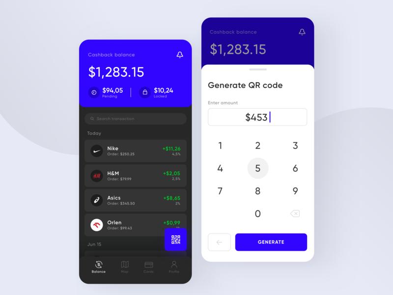 Cashback App black design sdh transaction fintech finance wallet payment ui ux mobile interface cash app money card cashback