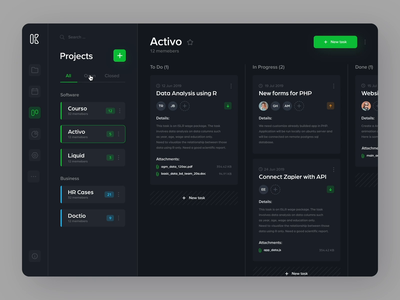 Kaoo - Dashboard web product design ux ui product interface app dark ui design interaction animation drag and drop task manager task data dashboard