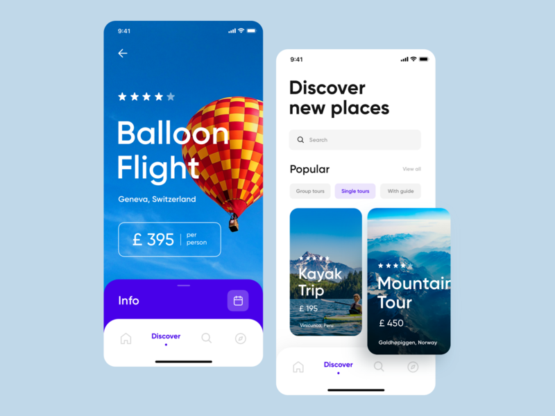 Trip Planner App Concept trip planner adventure app booking places discover tour trip fly balloon desing traveling travel app travel ux ui