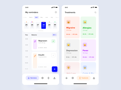 Medicine Reminder App Concept ux ui pharmacology ios interface activity drugs healthcare emoji patient doctor treatment reminder app reminders reminder calendar pills health medecine