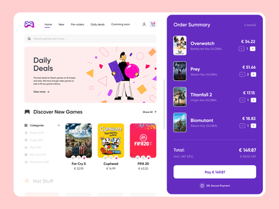 Game Store Concept store app colorful colors shopping cart summary game shop store app interface design sdh illustration dashboard ux ui
