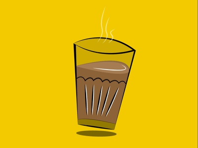 Tea Glass Illustration | Chai glass design shadow smoke digital illustration digitalart vector dribbble stroke icons icon drink chai stroke flat vector flatdesign illustraion