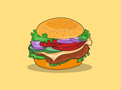 Burger Illustration | Flat vector animation icons outline minimal branding web simple vector illustration design food illustration vector art flat design burgers