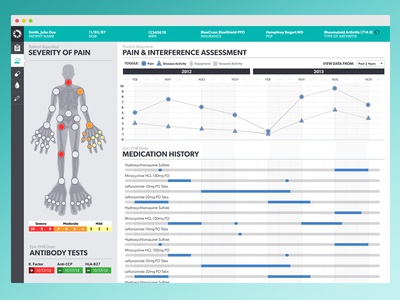 Arthritis Dashboard data visualization design ui ux health human homunculus charts graphs data