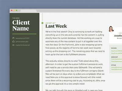 Client Project Status Hub hackathon ui clients web design