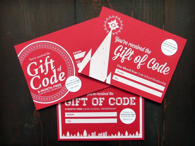Gift of Code gift card code school code mailer screenprint christmas card print
