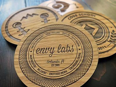 Envy Coaster Christmas wood laser etched oak custom coasters photo envy labs code school christmas present