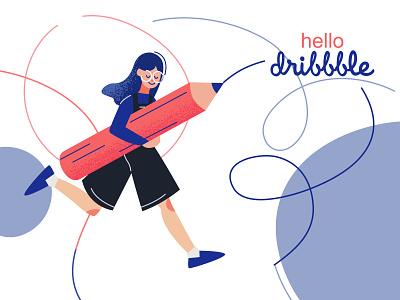 hello dribbble! hello dribbble girl gang girl character girlillustration pencil poster vectorart hellodribbble vectorillustration vector illustration