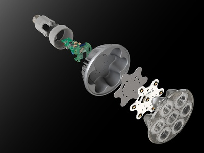 Cree Exploded Led b2b product rendering industrial 3d modeling 3d exploded view