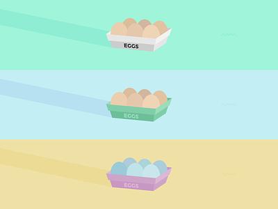 Eggs eggs egg egg box egg carton blue eggs chicken vector illustration pastel squiggles